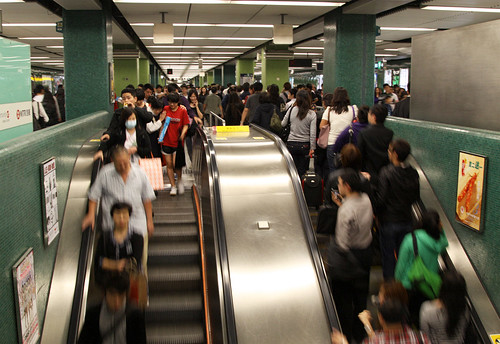 Escalators from concourse to platform level at Jordan station