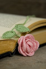 Crocheted Pink Rose Bookmark