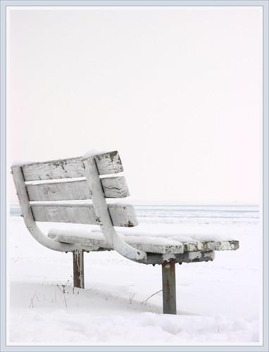 ohio snow ice frozen lakeerie geneva parkbench whiteonwhite ashtabulacounty