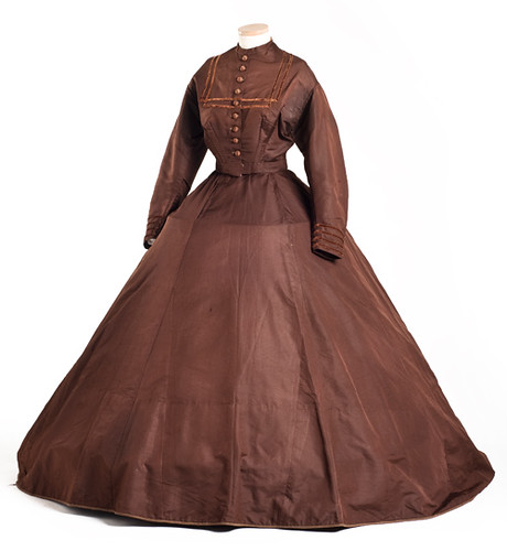 Brown ribbed silk dress, 1860s