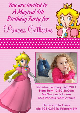 Super Mario Bross Princess Peach Custom Birthday Invitation