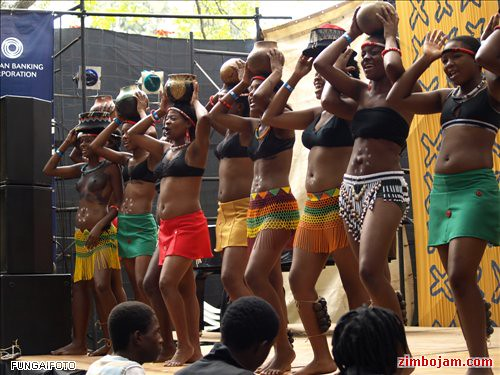 Zimbabwe women dancers performing in a concert on stage. The Southern African state is rich in culture that extends back many centuries. Zimbabwe won its national liberation in 1980 from British settlers. by Pan-African News Wire File Photos