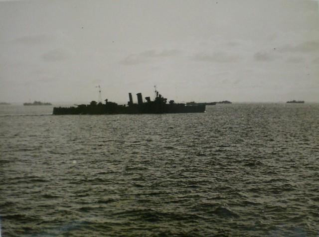 THE PACIFIC WAR: Jan. 22, 1945 - HMAS AUSTRALIA [II] retires after five kamikaze hits at Lingayen Gulf. Collection of Alan Meade, RAN 1943-1946.