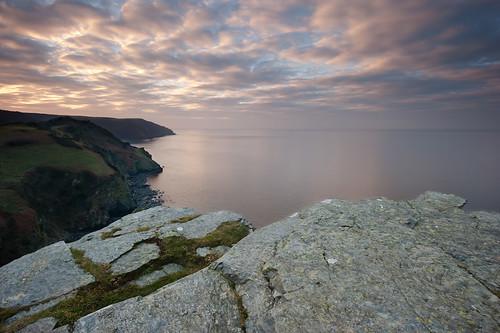 sunset sea coast nikon rocks devon valley lynmouth lynton d700