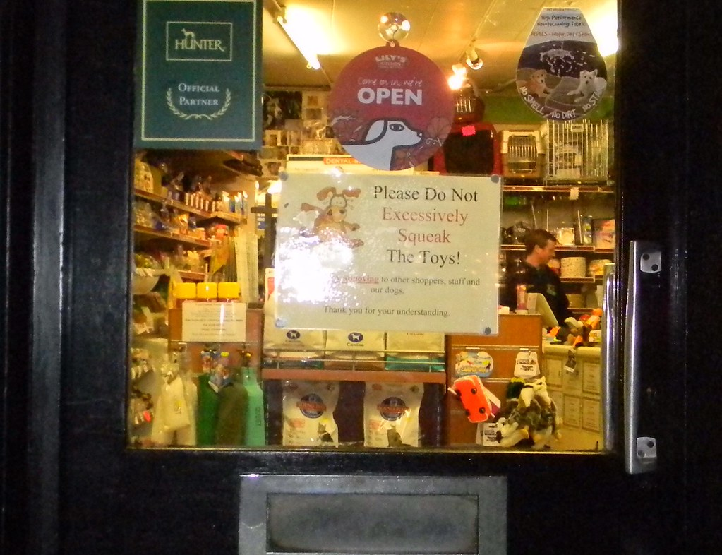 Pet shop toys Just don't - OK? Pet shop door in Haslemere. Haslemere Round walk