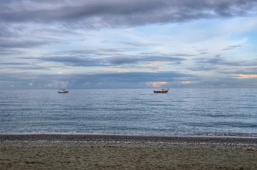 sea sky clouds boats day cloudy greece leptokarya λεπτοκαρυάleptokarya
