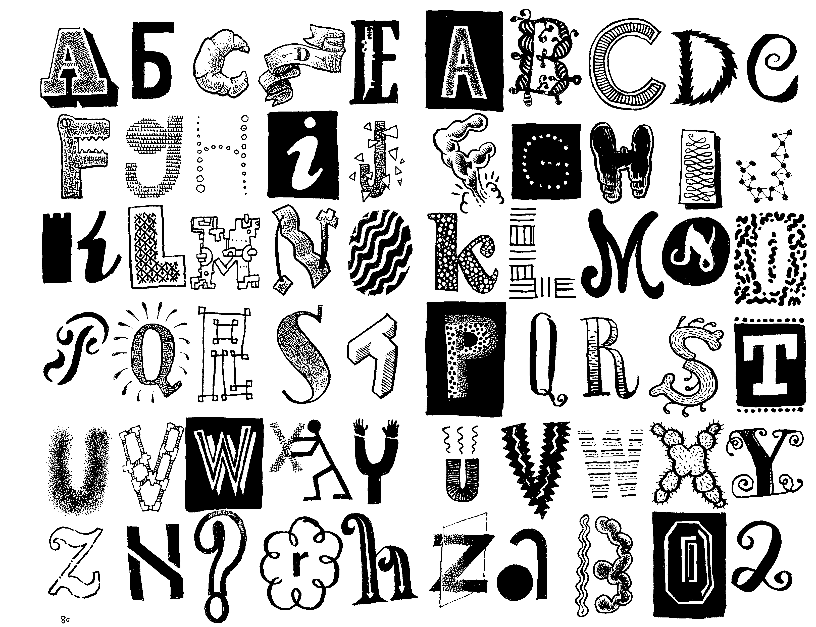 Cool Alphabet Letters To Copy And Paste Letter doodles (set)