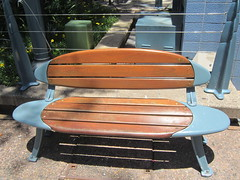 It took me until the third day I was in town to realize the benches were designed to look like surfboards