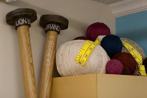 Giant needles and yarn balls