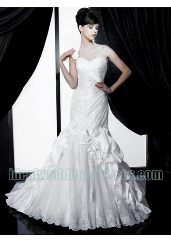 Taffeta and Organza Fashion One shoulder with Sweetheart Neckline and Mermaid Skirt 2011 Pick up Wedding Dress WD-0339 by churcy