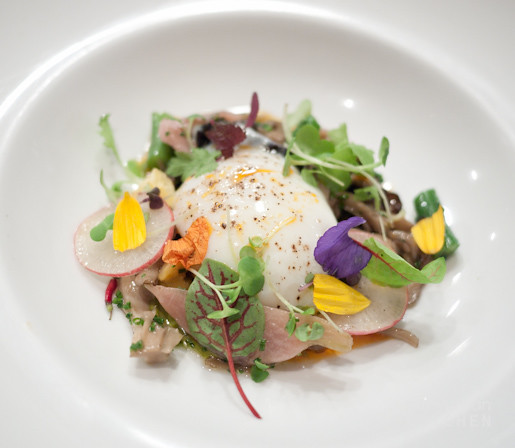 Ragout of Wild Mushrooms, Farm Fresh eggs, flowers, herbs