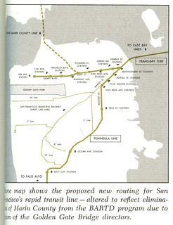 BART routing in San Francisco after Marin County eliminated from system (September, 1961)