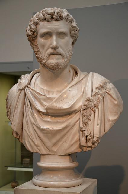 Marble portrait bust of the Emperor Antoninus Pius wearing military dress, Roman Empire, British Museum