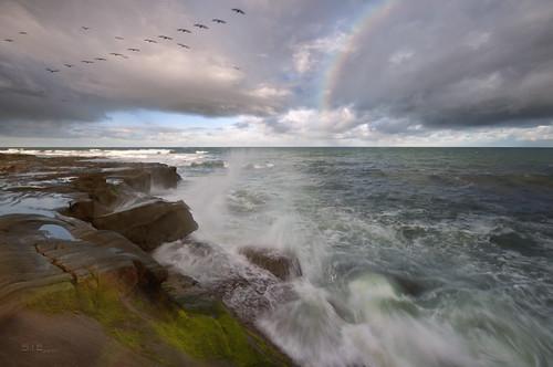 ocean california sea sky seascape storm water birds clouds coast rainbow rocks surf waves pacific sandiego tide lajolla spray reef oceanscape nohdrifthatmatters