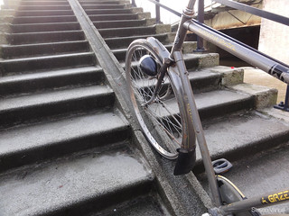 Special bike track on the stairs