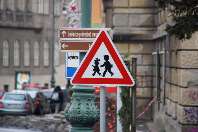 "Warning Sign ""Children"" in Prague, Czech Republic"