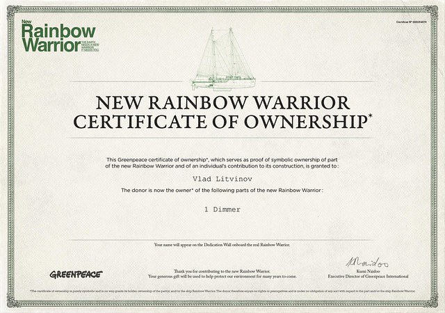 New rainbow warrior certificate of ownership flickr photo sharing - A quoi ressemble un titre de propriete ...