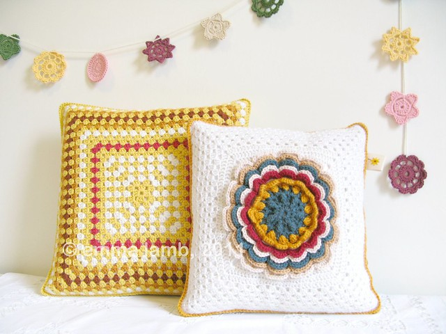 Hilda and Esther, crochet cushions by Emma Lamb