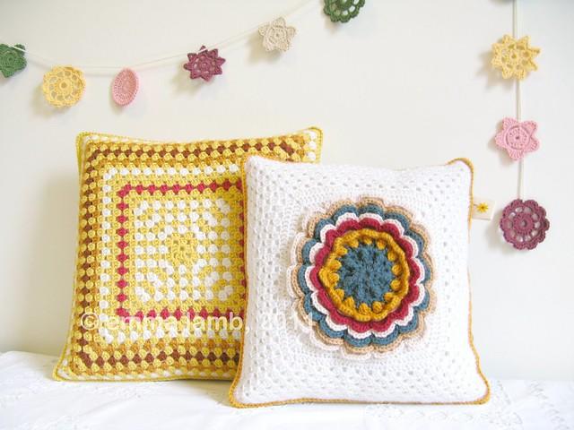 Hilda and Esther, crochet cushions by Emma Lamb