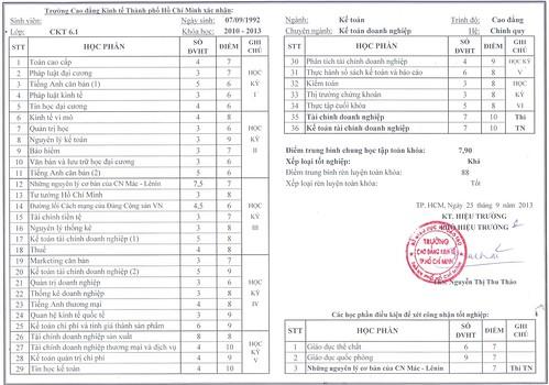 dịch thuật công chứng bảng điểm, kết quả học tập