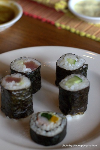 Maki Rolls, Tuna, Cumber, and Crab Stick, Spinach and pickled radish
