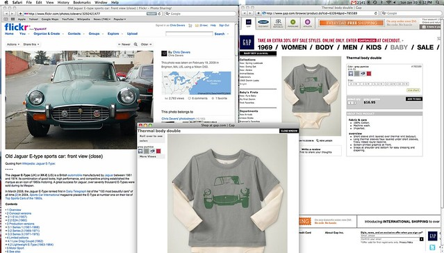 My photo of a Jaguar E-Type from Flickr being used on Gap clothing designs