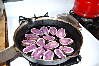 Purple potatoes fried in duck fat