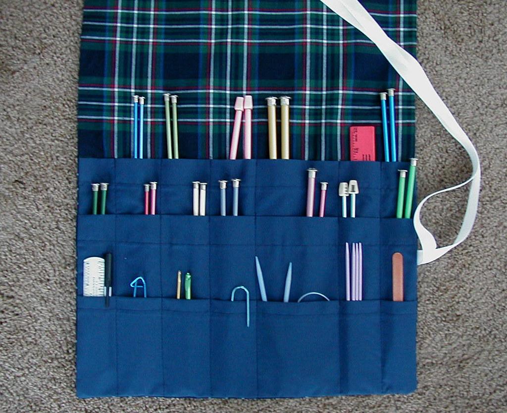 Knitting Needle Roll Up Navy Plaid