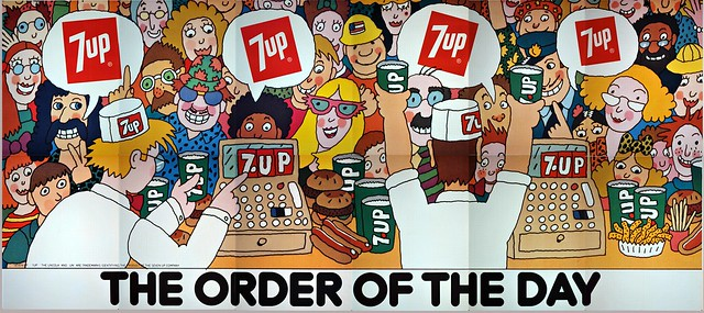 7Up_The Order of the Day_vintage UnCola billboard poster by Simms Taback, 1971