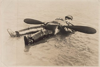 V.P. Taylor [in inflatable rubber suit] floating on San Francisco Bay, Sept. 29th, 1926