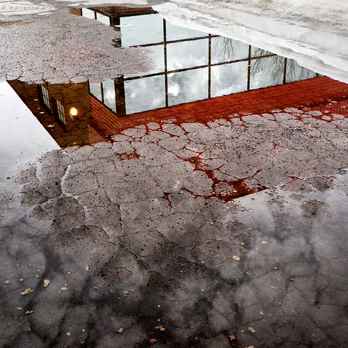 street city light red sky urban cloud snow canada reflection building ice window clouds square landscape puddle grid pattern quebec pavement montreal cracked marianna armata mariannaarmata