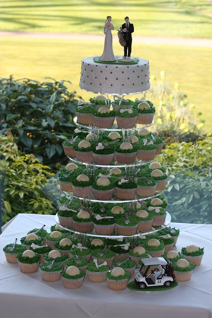 wedding cake toppers golf theme golf theme wedding cupcake tower flickr photo 26482