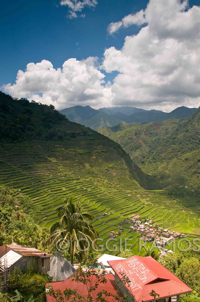 Batad - Amphitheater Red Roof Green Fields Blue Sky