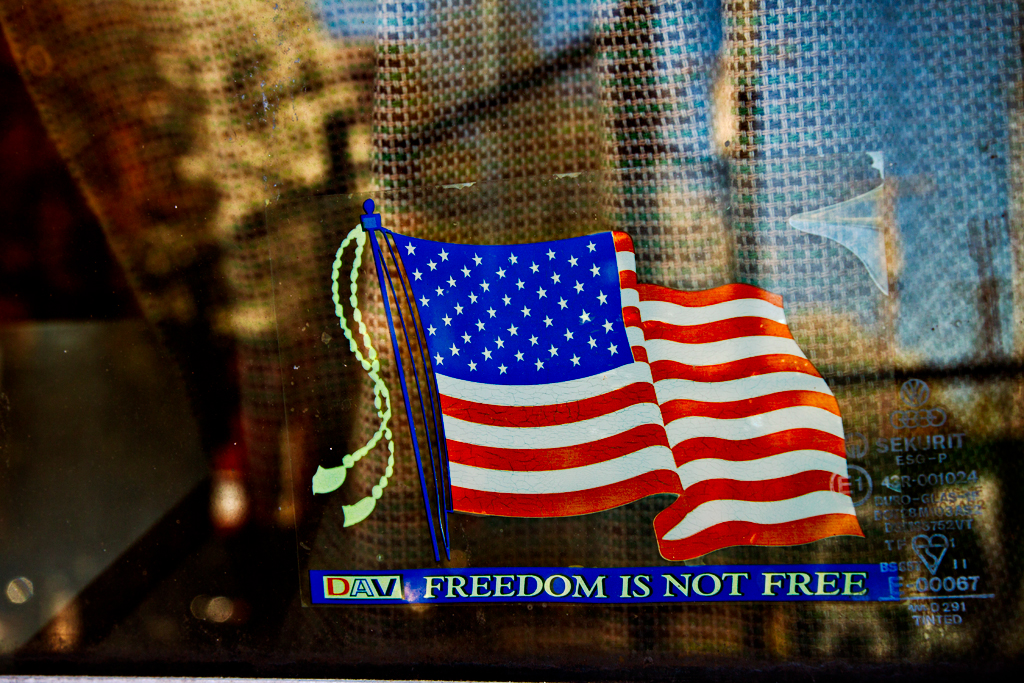 FREEDOM-IS-NOT-FREE-sticker-in-van-window--Bella-Vista
