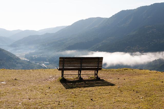 竹田城跡のベンチ