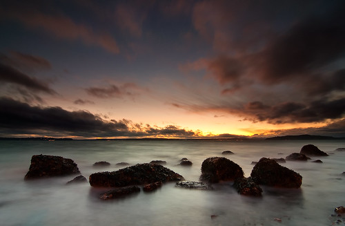 seattle sunset sea seascape beach water clouds washington rocks shore alki pugetsound