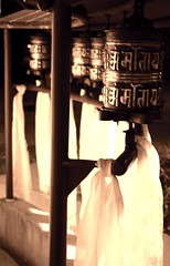Tibetan Buddhist prayer wheels decorated with katags, Om Mani Padme Hung, mantra, Sakya Monastery of Tibetan Buddhism, Greenwood, Seattle, Washington, USA
