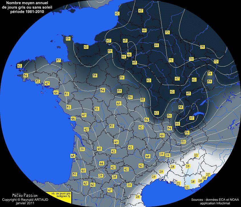 nombre moyen annuel de jours gris ou sans soleil en France pour la période 1981-2010