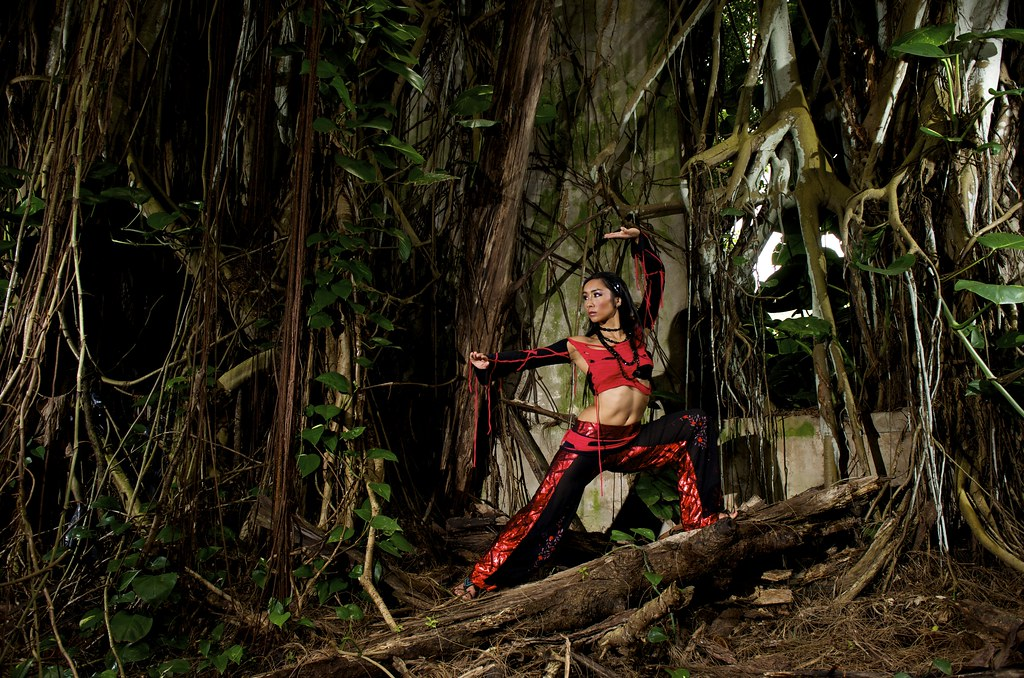 Anasma Red jungle church Hawaii photo by Joe Marquez pants by Sandralis Gines top and skirt by Lyvadia 009