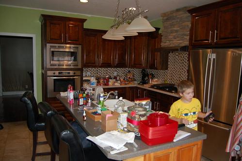 Thanksgiving kitchen before.