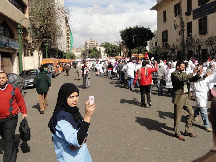 Mobile phone cameras capture protest moments - #Jan25 Egypt Revolution