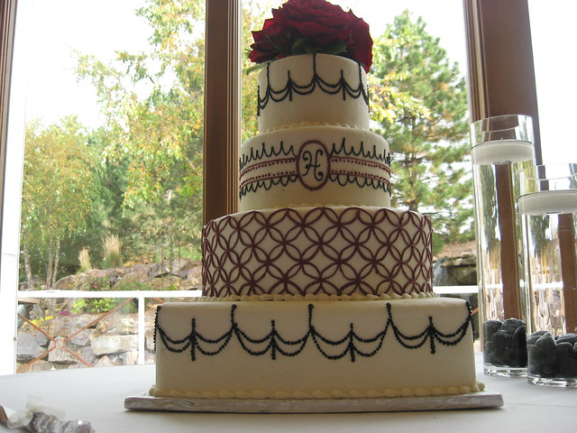 Plum and Black 4 Tiered Wedding Cake