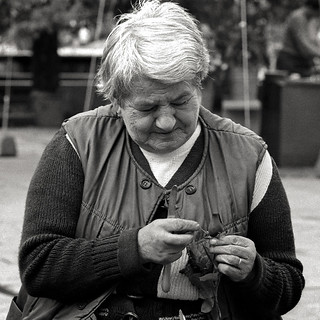"Woman Crafting Wood Fiber Flowers, ""Making A Wage"", Krakow, Poland, 1989"