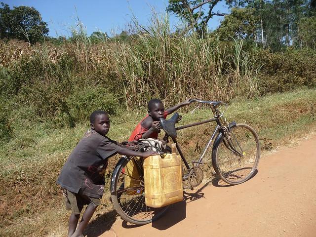 Child labour, 25p per jerrycan.