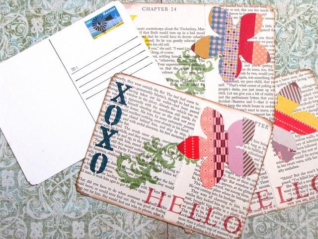 Washi tape flower postcard