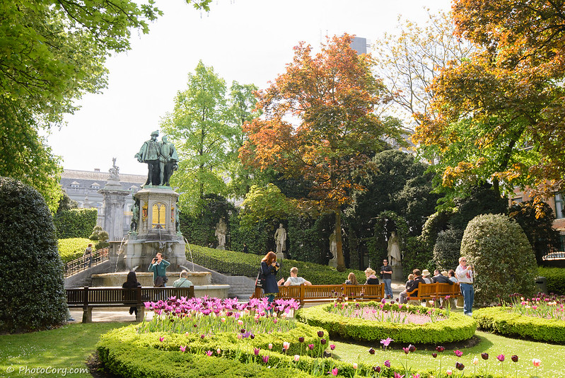 Square du Petit Sablon, small garden with flowers in the center of Brussels next to the Justice Palace