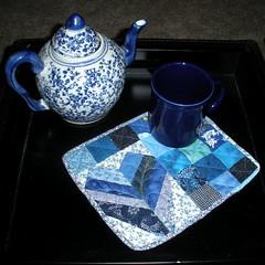Blue Scraps mug rug