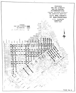Proposed One-Way Streets and No Parking Recommendations, Central Business District for Immediate Adoption (1942)