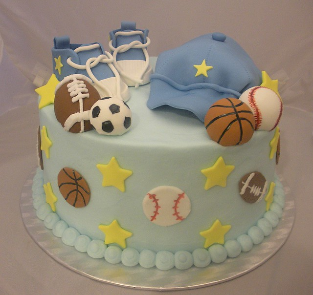 Sports Themed Baby Shower Cake on Sports Theme Baby Shower Cake