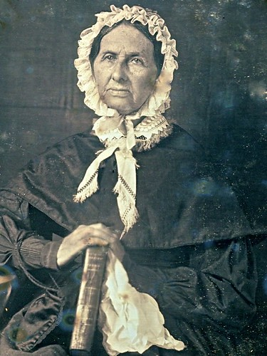 Older Woman with a Large Book, 6th-Plate Daguerreotype, Circa 1846, Detail
